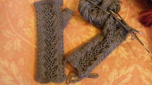 One and a half fingerless gloves
